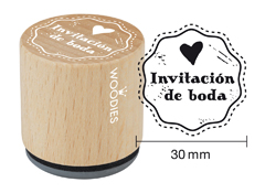 WB3005 Sello de madera y caucho Invitacion de boda diam 33x30mm Woodies