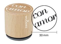 WB4001 Sello de madera y caucho Con amor diam 33x30mm Woodies