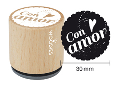 WB4002 Sello de madera y caucho Con amor diam 33x30mm Woodies