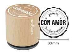 WB5001 Sello de madera y caucho Para ti Con Amor Hecho a mano diam 33x30mm Woodies