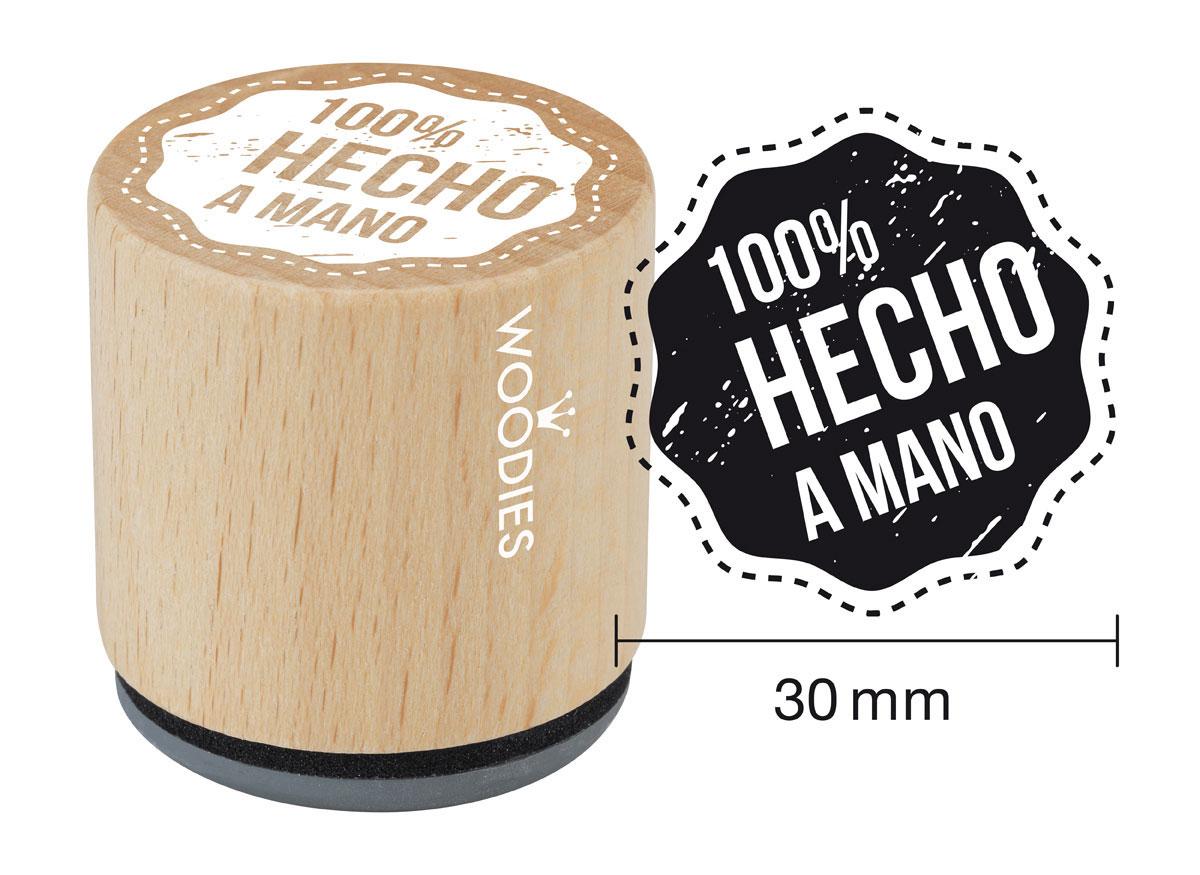WB5003 Sello de madera y caucho 100% Hecho a Mano diam 33x30mm Woodies