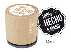 WB5003 Sello de madera y caucho 100% Hecho a Mano diam 33x30mm Woodies