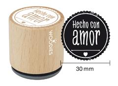 WB5004 Sello de madera y caucho Hecho con Amor diam 33x30mm Woodies - Ítem