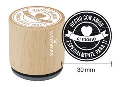 WB5005 Sello de madera y caucho Hecho con Amor a mano Especialmente Para Ti diam 33x30mm Woodies