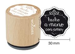 WB5006 Sello de madera y caucho Hecho a mano con amor diam 33x30mm Woodies