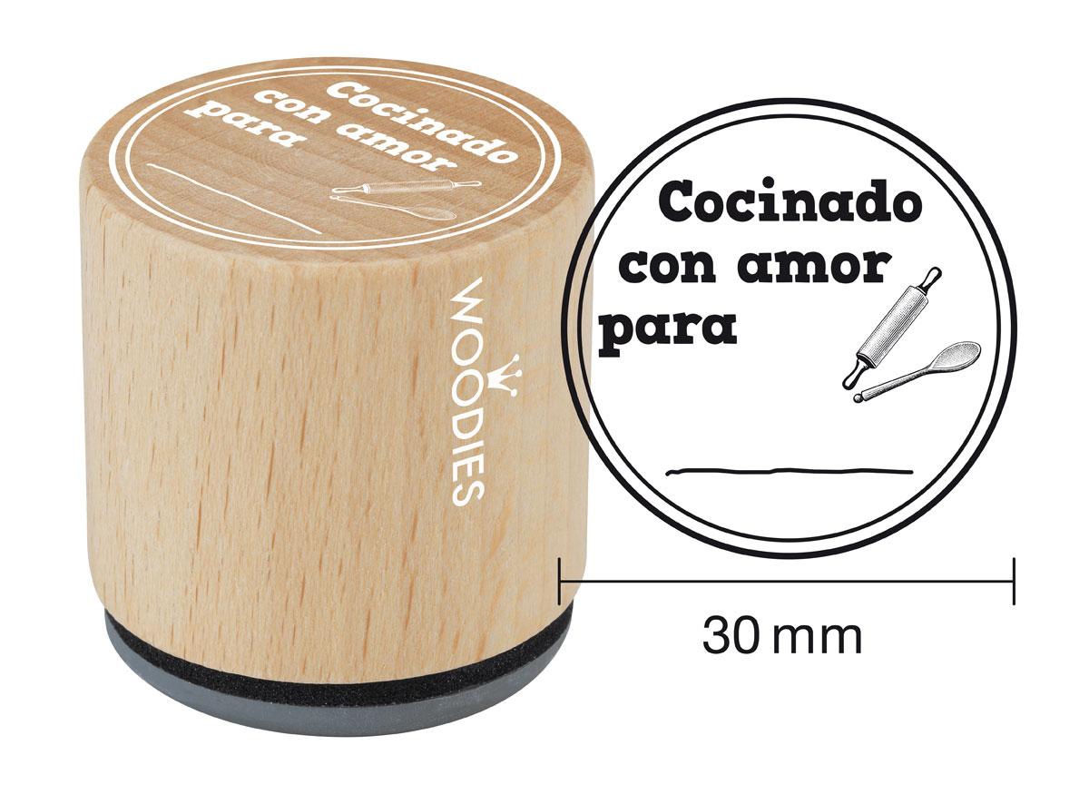 WB5007 Sello de madera y caucho Cocinado con amor para diam 33x30mm Woodies