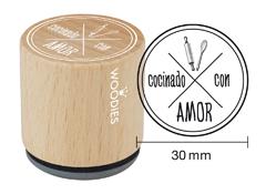WB5008 Sello de madera y caucho Cocinado con Amor diam 33x30mm Woodies