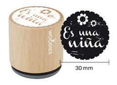 WB6001 Sello de madera y caucho Es una nina diam 33x30mm Woodies