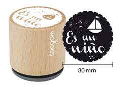 WB6002 Sello de madera y caucho Es un nino diam 33x30mm Woodies