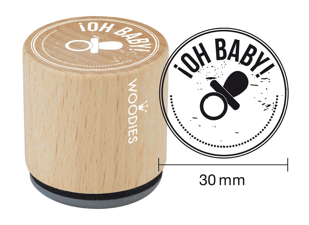 WB6004 Sello de madera y caucho Oh Baby diam 33x30mm Woodies