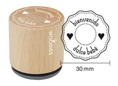 WB6005 Sello de madera y caucho Bienvenido dulce bebe diam 33x30mm Woodies