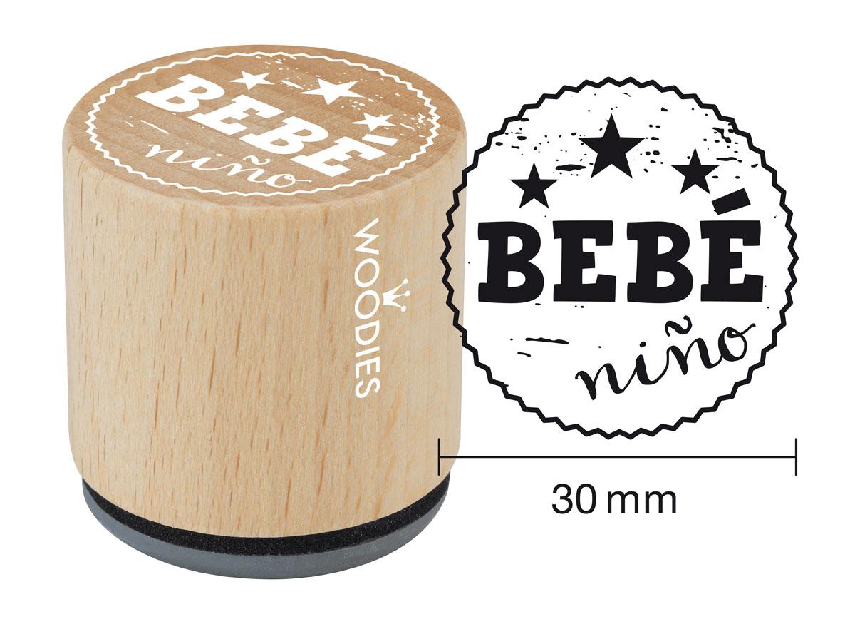 WB6007 Sello de madera y caucho Bebe nino diam 33x30mm Woodies