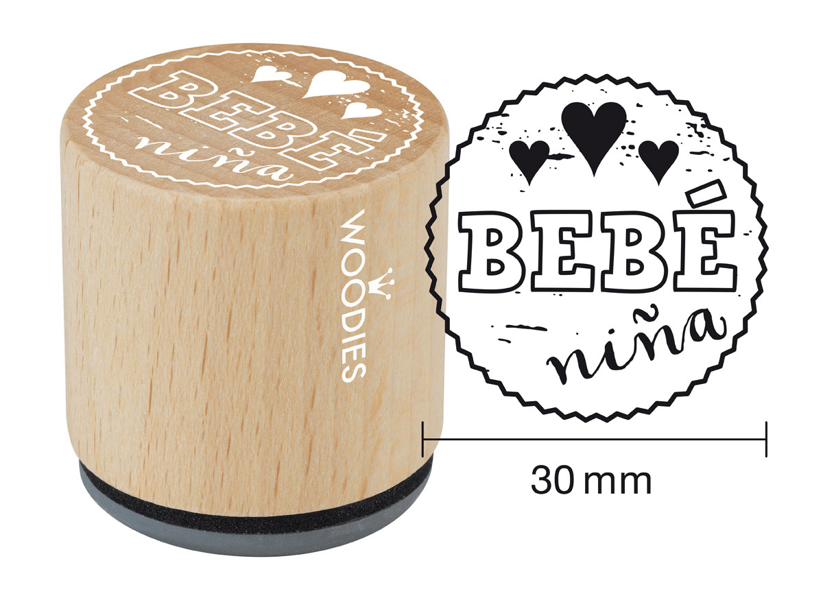 WB6008 Sello de madera y caucho Bebe nina diam 33x30mm Woodies