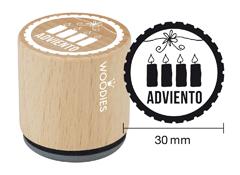 WB7004 Sello de madera y caucho Adviento diam 33x30mm Woodies