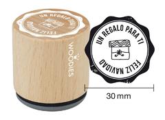 WB7005 Sello de madera y caucho Un regalo para ti Feliz Navidad diam 33x30mm Woodies
