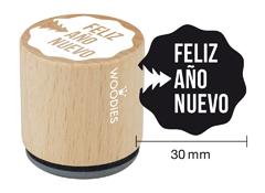 WB7008 Sello de madera y caucho Feliz Ano Nuevo diam 33x30mm Woodies