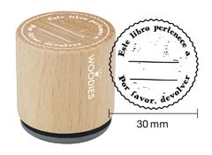WB8001 Sello de madera y caucho Este libro pertenece a Por favor devolver diam 33x30mm Woodies