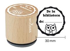 WB8006 Sello de madera y caucho De la biblioteca de diam 33x30mm Woodies