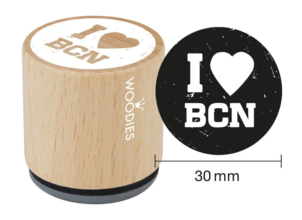 WB9001 Sello de madera y caucho I love BCN diam 33x30mm Woodies