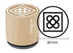 WB9002 Sello de madera y caucho baldosa flor Barcelona diam 33x30mm Woodies