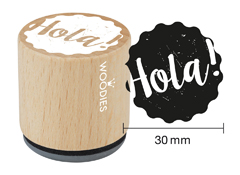 WB9005 Sello de madera y caucho Hola diam 33x30mm Woodies