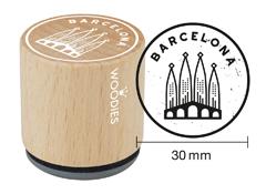 WB9008 Sello de madera y caucho Sagrada Familia diam 33x30mm Woodies