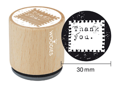 WE1006 Sello de madera y caucho Thank you diam 33x30mm Woodies