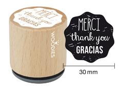 WE1007 Sello de madera y caucho Merci Thank you Gracias diam 33x30mm Woodies