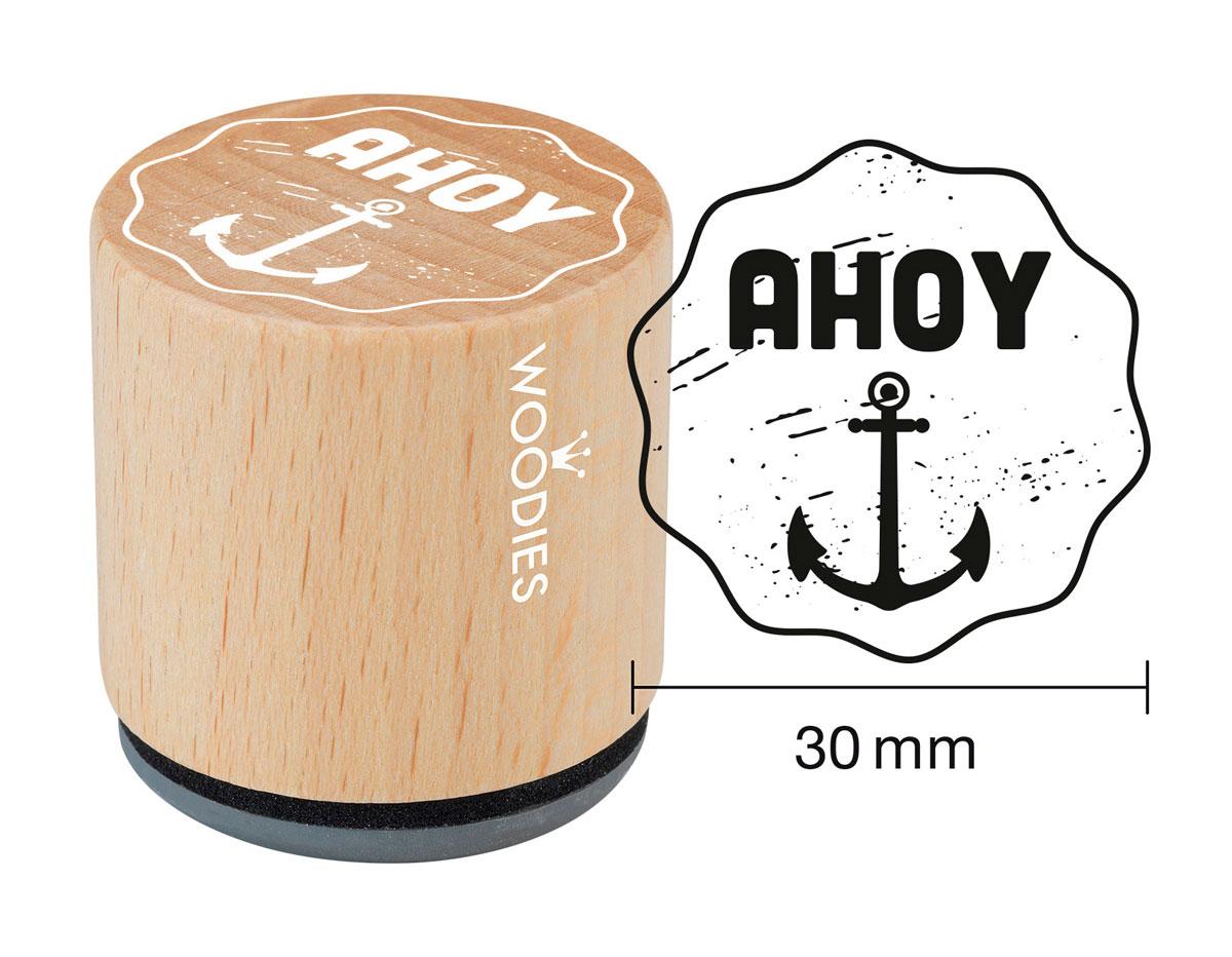 WE1401 Sello de madera y caucho ancla ahoy diam 33x30mm Woodies