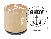 WE1401 Sello de madera y caucho ancla ahoy diam 33x30mm Woodies