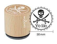 WE1403 Sello de madera y caucho calavera yo ho diam 33x30mm Woodies