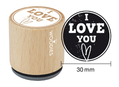 WE4004 Sello de madera y caucho I love you diam 33x30mm Woodies