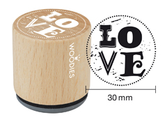WE4005 Sello de madera y caucho Love diam 33x30mm Woodies