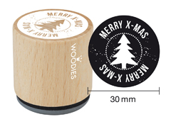WE7003 Sello de madera y caucho Merry x-mas diam 33x30mm Woodies
