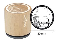 WE8007 Sello de madera y caucho dibujo libros diam 33x30mm Woodies