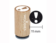 WM0102 Sello mini de madera y caucho signo de exclamacion diam 15x25mm Woodies