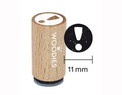 WM0102 Sello mini de madera y caucho signo de exclamacion diam 15x25mm Woodies