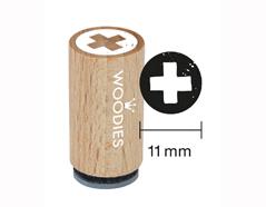 WM0107 Sello mini de madera y caucho cruz diam 15x25mm Woodies