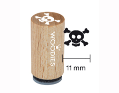 WM0108 Sello mini de madera y caucho calavera diam 15x25mm Woodies - Ítem