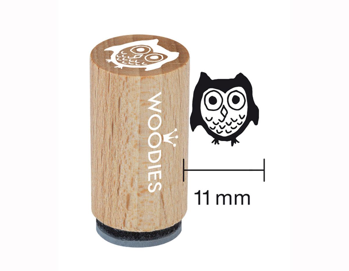 WM0201 Sello mini de madera y caucho buho diam 15x25mm Woodies