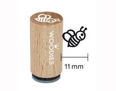 WM0204 Sello mini de madera y caucho abeja diam 15x25mm Woodies