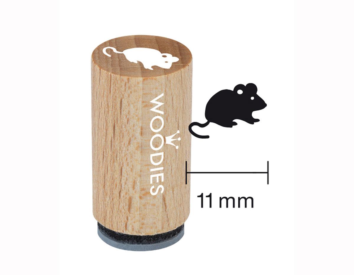WM0205 Sello mini de madera y caucho raton diam 15x25mm Woodies