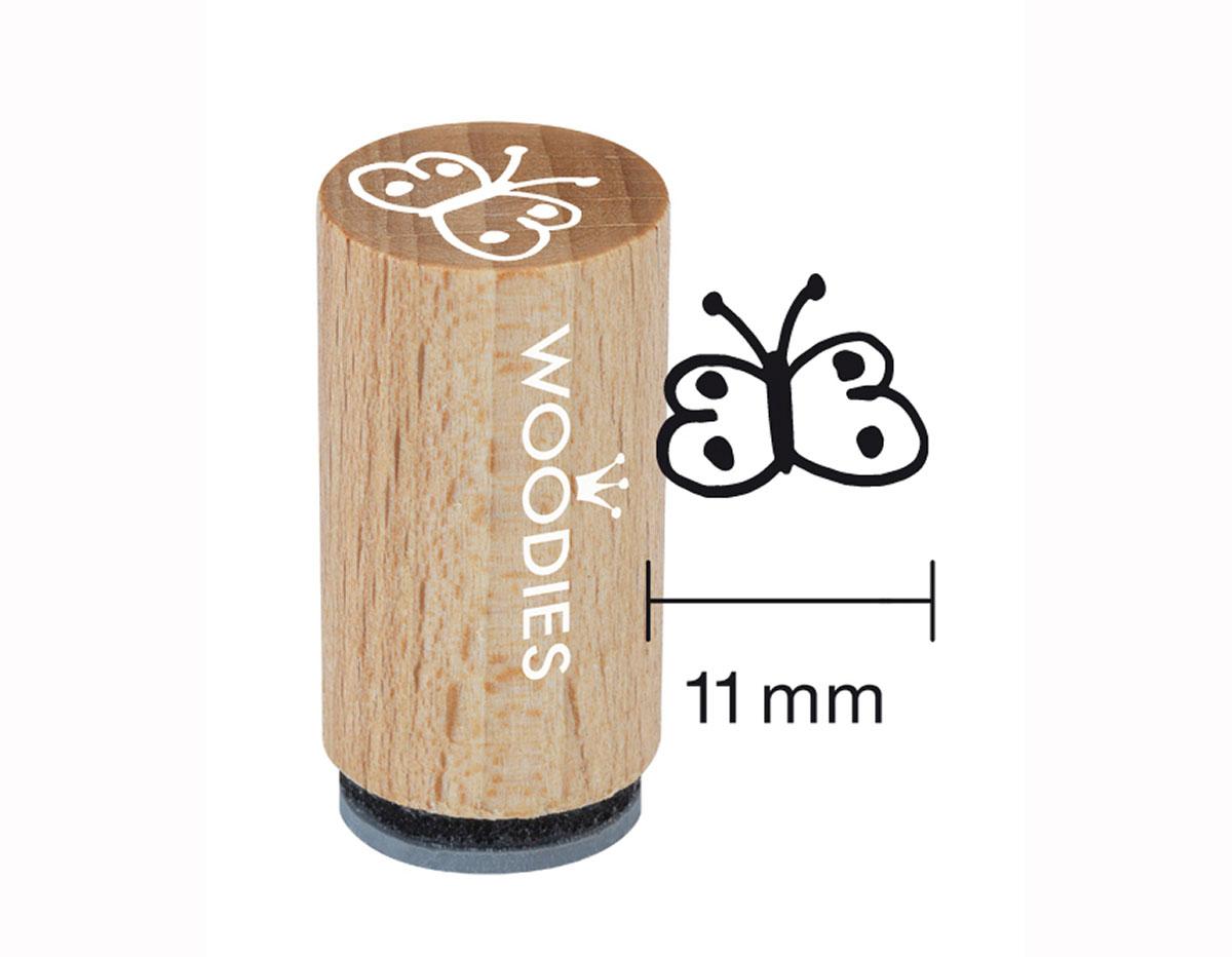 WM0207 Sello mini de madera y caucho mariposa diam 15x25mm Woodies