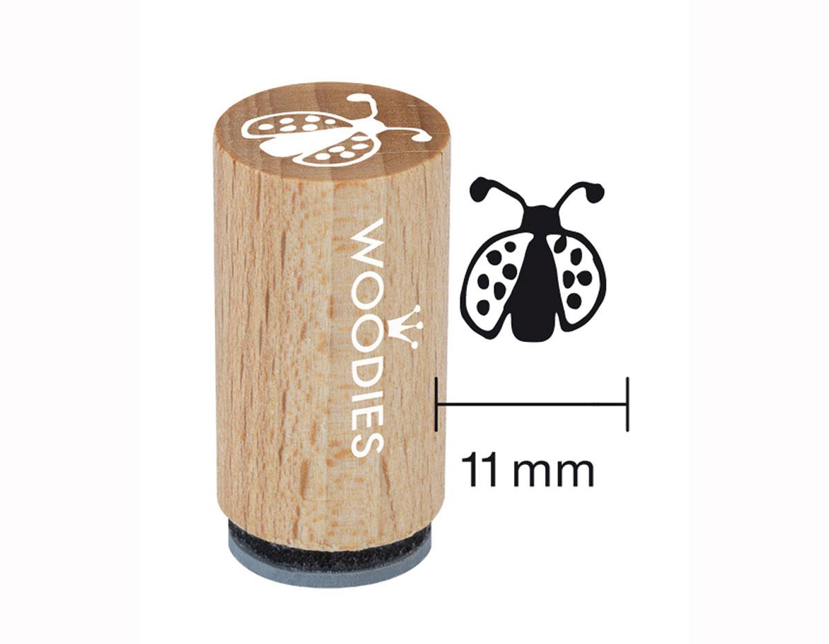 WM0208 Sello mini de madera y caucho mariquita diam 15x25mm Woodies