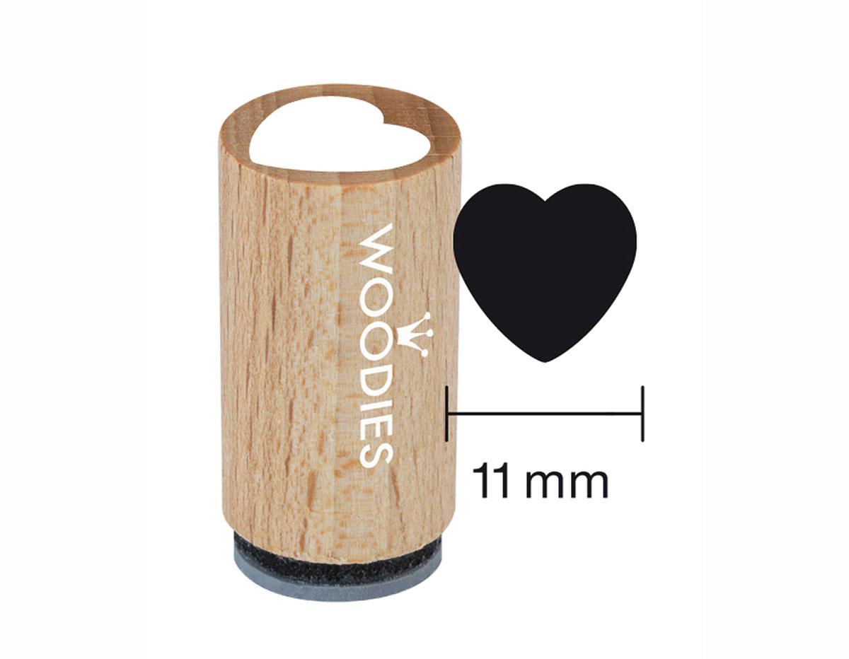 WM0301 Sello mini de madera y caucho corazon diam 15x25mm Woodies