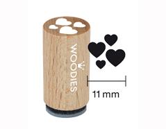 WM0302 Sello mini de madera y caucho corazones diam 15x25mm Woodies
