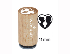 WM0304 Sello mini de madera y caucho novios dentro de un corazon diam 15x25mm Woodies