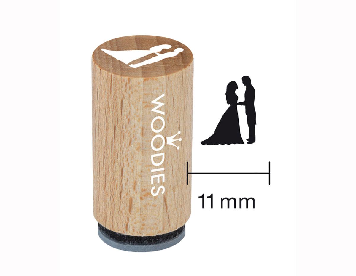 WM0305 Sello mini de madera y caucho novios diam 15x25mm Woodies