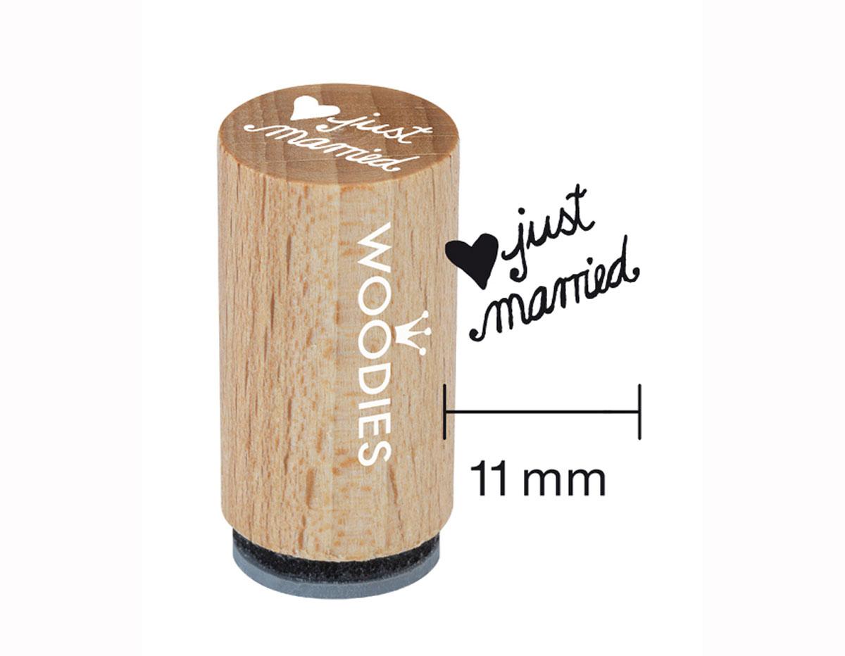 WM0306 Sello mini de madera y caucho Just married diam 15x25mm Woodies