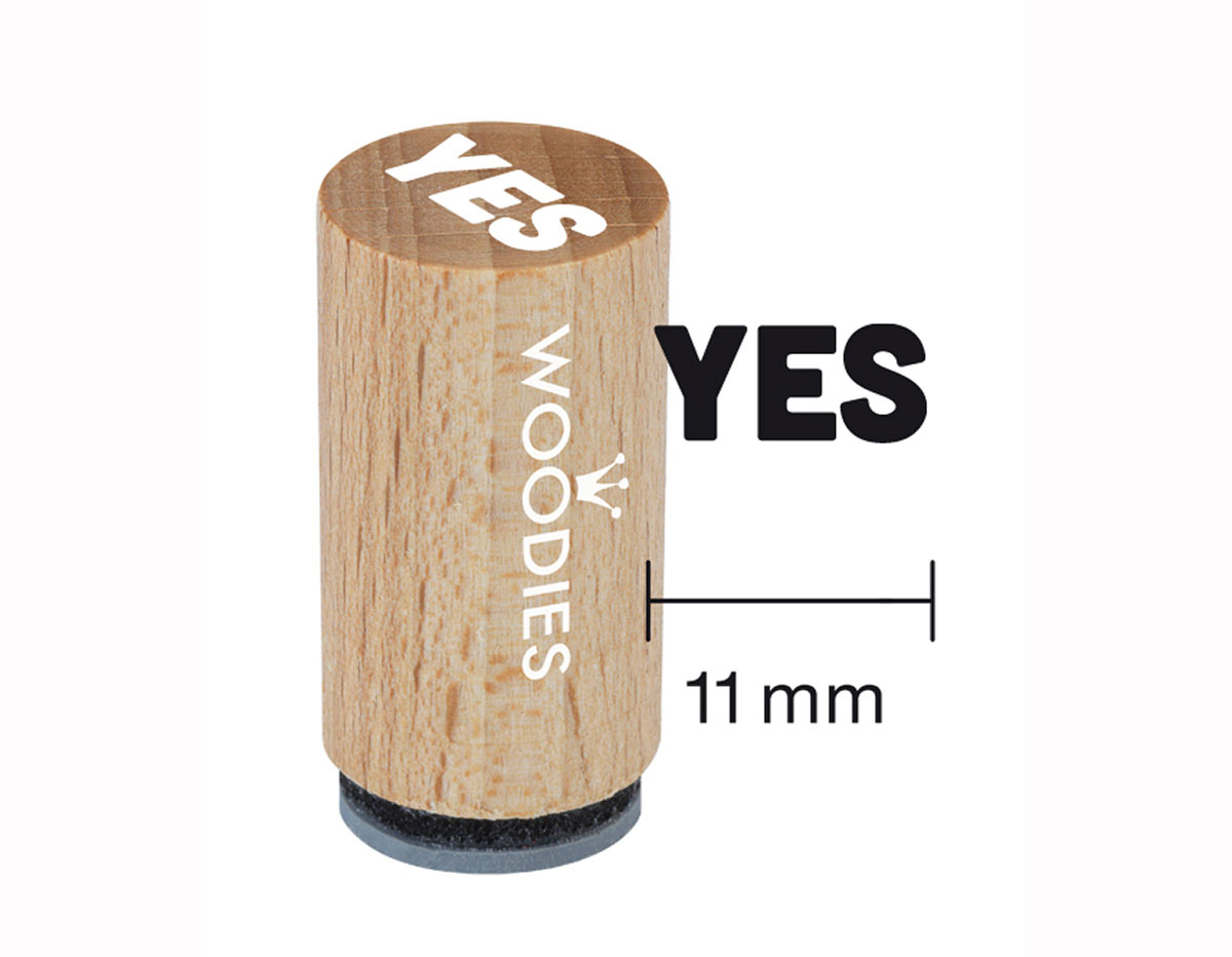 WM0308 Sello mini de madera y caucho Yes diam 15x25mm Woodies